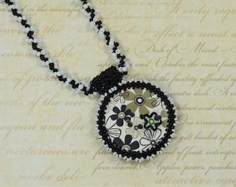 Monochrome Button Necklace - Flower Button Necklace - One Of A Kind - Seed Bead Jewellery - Beaded Necklace - Gift For Her - Birthday Gift