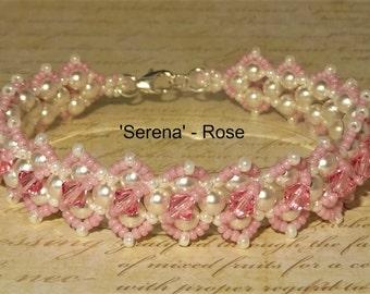 Serena Bracelet - Crystal Bracelet - Beadwoven Jewellery - Beaded Jewelry - Seed Bead Bracelet - Pearl Bracelet - Wedding Jewellery