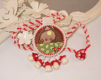 Toadstool Button Necklace - One Of A Kind - Beadwoven Necklace - Seed Bead Jewellery - Nature Jewelry - Beaded Necklace - Gift For Her