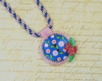 Flower Button Necklace - One Of A Kind - Beadwoven Necklace - Seed Bead Jewellery - Nature Jewelry - Beaded Necklace - Gift For Her