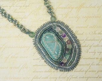 Fluorite Necklace - Gemstone Pendant - One Of A Kind - Seed Bead Jewellery - Beaded Jewelry - Bead Embroidery Necklace - Gift For Her