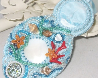 Salacia, Queen of the Ocean - Goddess Hanging Ornament - One Of A Kind - Wall Art - Home Decor - Beaded Decoration - Unique Gift
