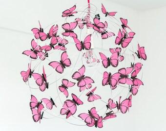 Chandelier with Pink Butterflies-Nursery,Fun Decor Baby,Hanging Butterfly Decor,Kids Decor,Nursery,Shadow lamp