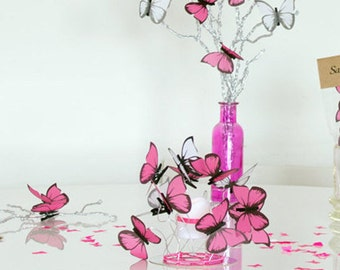 3 Baby Shower Centerpiece/candle centerpiece,Table decor,party decor butterfly,pink butterflies,sweet sixteen table, fantasy,Bat mitzvah