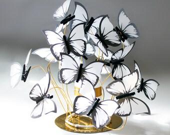3 Wedding Centerpieces/candle centerpieces,gold decor,party decor butterfly,gold decor,white butterflies,wedding table, fantasy,Bat mitzvah