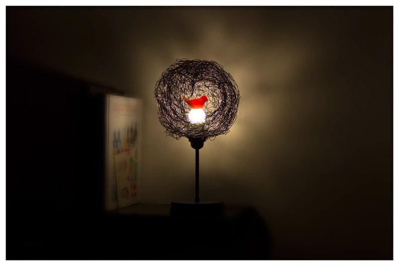 EnfantSignatureDesign Oiseau Gris Et OiseauxVeilleuseLumière En Lampe Rouge Des De Chambre Pour VieCadeauAmoureux Kcl31uT5FJ