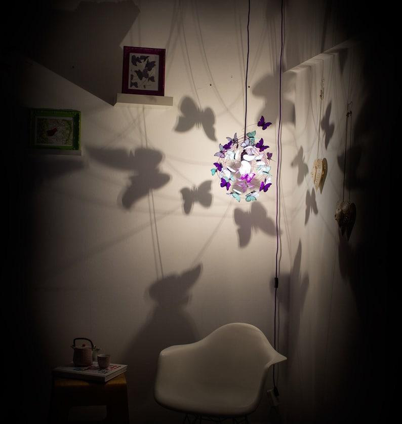 blue butterflies Plug in pendant light children lighting shadow lamp butterfly lamp