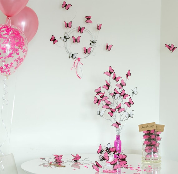 Pink Butterfly Centerpiece Complete Decor For Baby Shower Girl Etsy