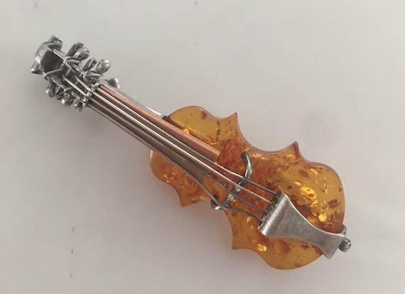 Silver Genuine Amber Handmade Musical Brooch Music Brooch Natural Amber Jewelry Gemstone Gift for Musicians Amber Violin Pendant and Brooch