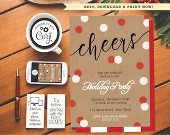 christmas cheers holiday party invitation