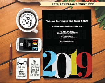 new years eve 2019 holiday party invitation