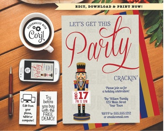 christmas lets get this party crackin holiday party invitation