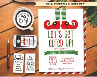 christmas lets get elfed up holiday party invitation