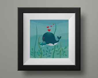 Mom and baby whales print, nursery art for baby's room