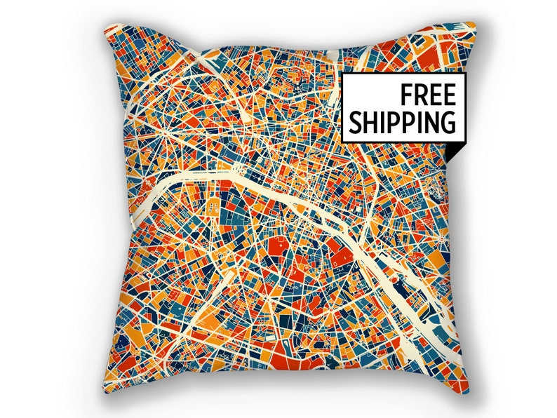 Map Of France Over Time.Paris Map Pillow France Map Pillow 18x18