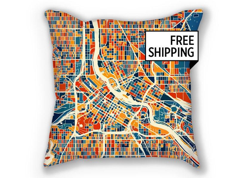 Minneapolis Map Pillow Minnesota Map Pillow 18x18