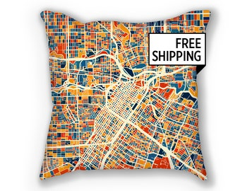 Houston Map Pillow - Texas Map Pillow 18x18