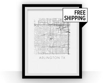 Arlington Texas Map Print