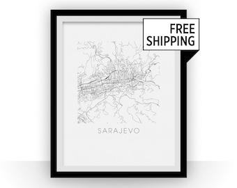 Sarajevo Map Black and White Print - bosnia and herzegovina Black and White Map Print