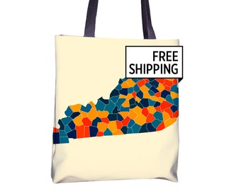 Kentucky Map Tote Bag - KY Map Tote Bag 15x15