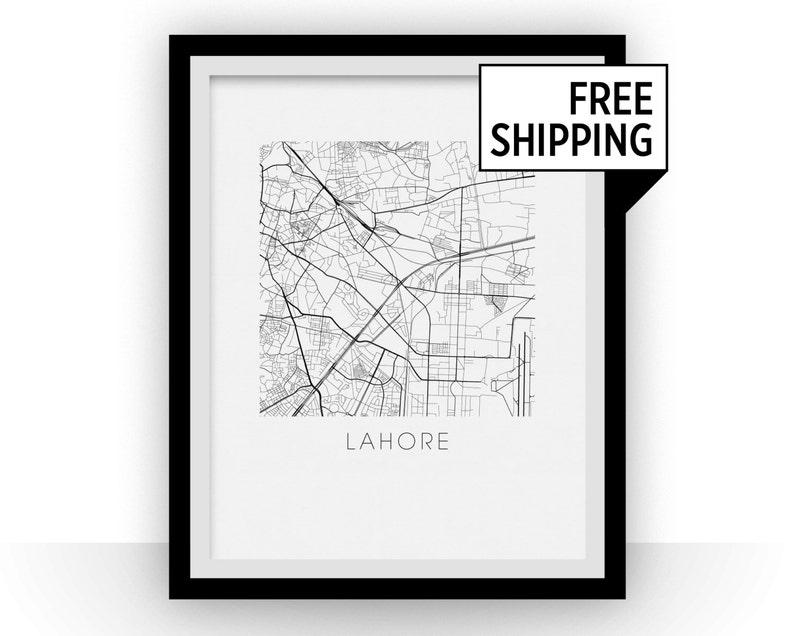 Lahore Map Black and White Print - pakistan Black and White Map Print