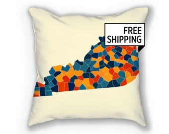 Kentucky Map Pillow - KY Map Pillow 18x18