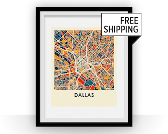 Dallas Map Print - Full Color Map Poster