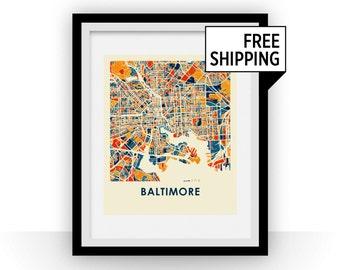 Baltimore Map Print - Full Color Map Poster
