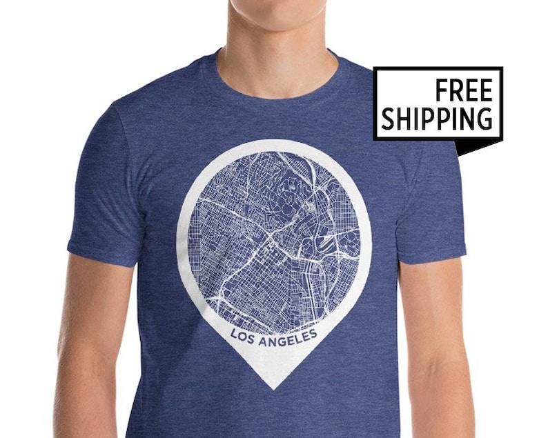 California Map T-Shirt Los Angeles Men T Shirt California USA Los Angeles Map T-Shirt