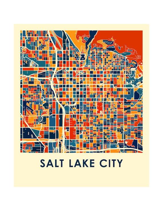 Salt Lake City Map Print - Full Color Map Poster
