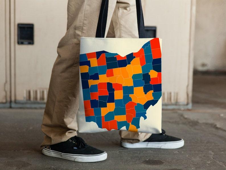 OH Map Tote Bag 15x15 Ohio Map Tote Bag