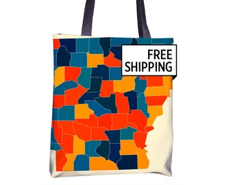 Arkansas Map Tote Bag - AR Map Tote Bag 15x15