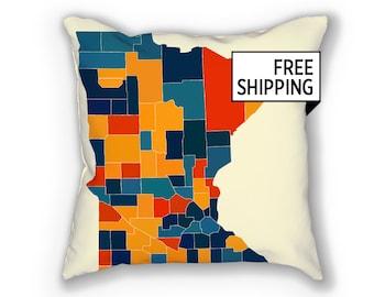 Minnesota Map Pillow - MN Map Pillow 18x18