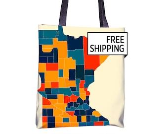 Minnesota Map Tote Bag - MN Map Tote Bag 15x15