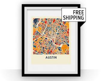 Austin Map Print - Full Color Map Poster