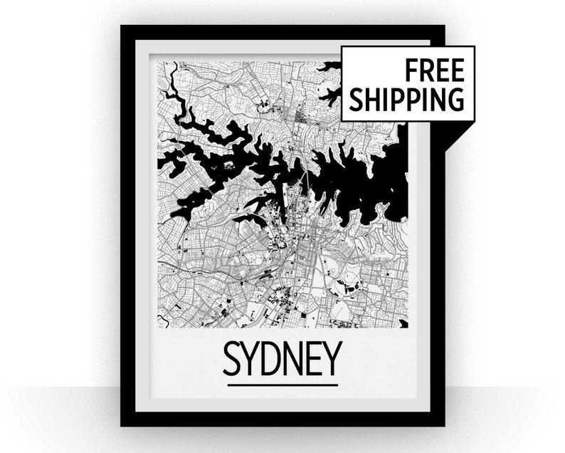 Free Map Of Australia To Print.Sydney Map Poster Australia Map Print Art Deco Series