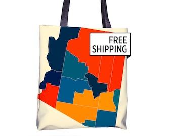 Arizona Map Tote Bag - AZ Map Tote Bag 15x15