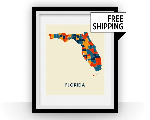 Florida Map Print Full Color Map Poster Etsy