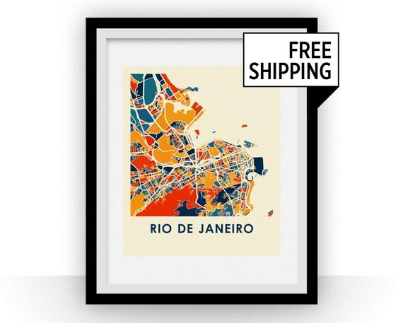 Rio De Janeiro Map Print Full Color Poster