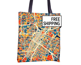 Houston Map Tote Bag - Texas Map Tote Bag 15x15