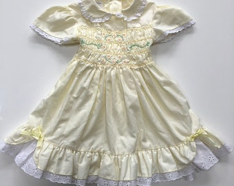 081da0e3471d Vintage Buttercream Yellow Smocked Dress by Polly Flinders for Toddler Girl  Vintage Yellow Dress