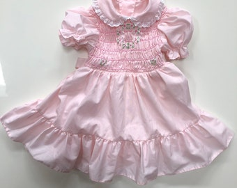 6a8accd36153 Vintage Candy Pink Polly Flinders Dress with Smocking for Toddler Girl