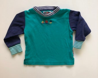 683e4516840d Vintage Gymboree Teal Long Sleeve Boy Tee with Boats
