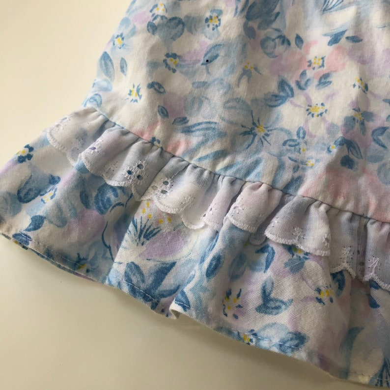 Vintage Blue and Pink Floral Dress by Evy with Lacey Collar
