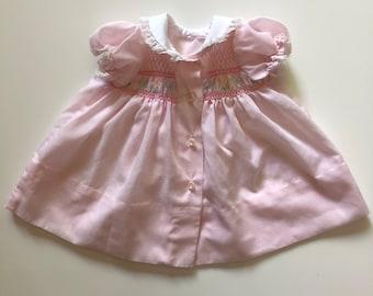 Vintage Baby Pink Smocked Dress