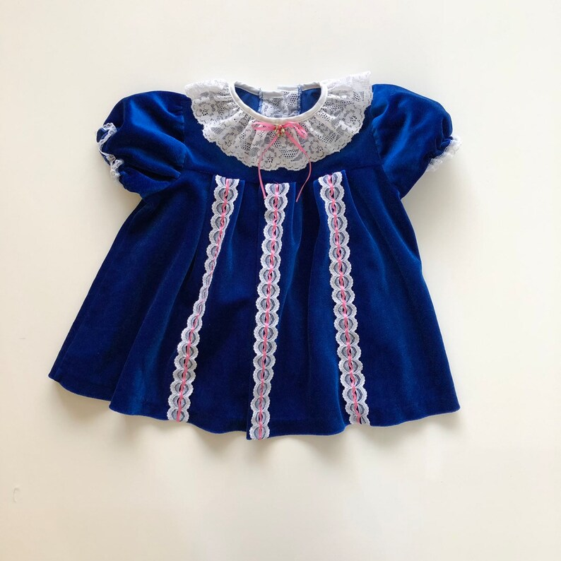8d99b03ce46a Vintage Blue Velvet Baby Dress with Lace and Pink Ribbon Trim