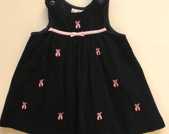 Vintage Ballet Corduroy Jumper Dress for Toddler