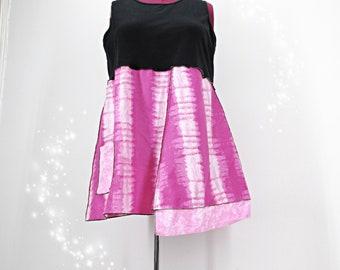 Summer Clothing Womens 18 Top Tie Dye Tank Tunic Black and Pink Top Plus Size 2X Tunic Women 20 T Shirt