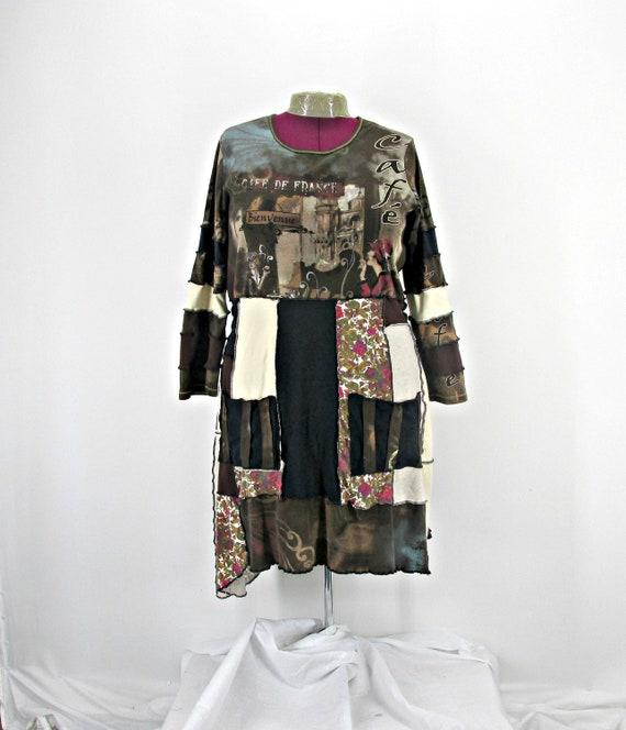 Shabby Urban Chic, Plus Size Dress / Upcycled Clothing / Boho Clothing  /Patchwork Dress /Long Sleeve Dress /Womens Cotton Dress /Brown Dress