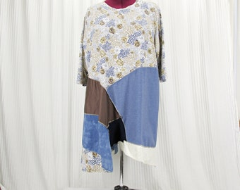 Plus Size Patchwork Tunic, Fall Upcycyled Floral Top, Tie Dye and Chambray Fabric, Earth tone colors